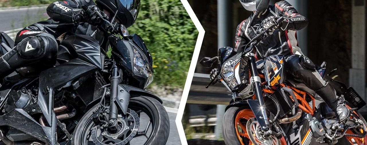 A2 Naked Bike Vergleich - KTM 390 Duke vs. Kawasaki Z300