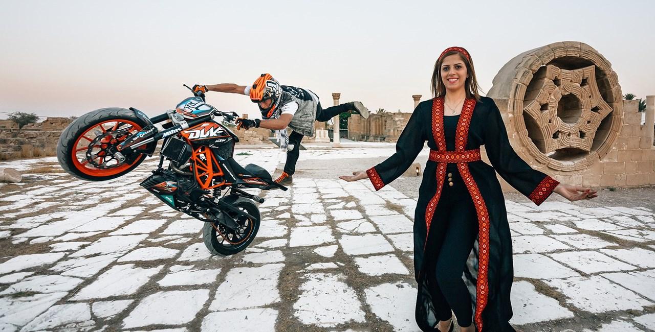 KTM Duke Stunt Rider Rok Bagoros performed in Palestine