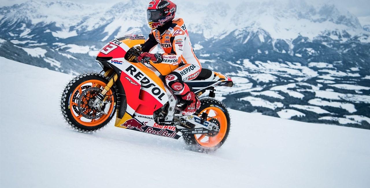 Marc Marquez fährt MotoGP im Schnee!