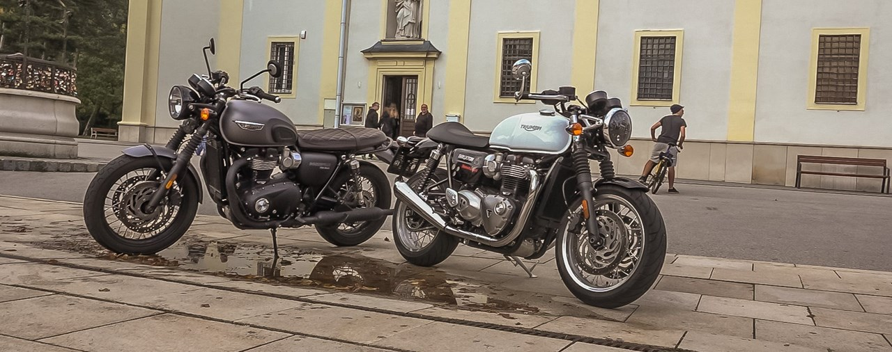 Triumph Bonneville T120 Black vs. Thruxton 1200 Test 2017