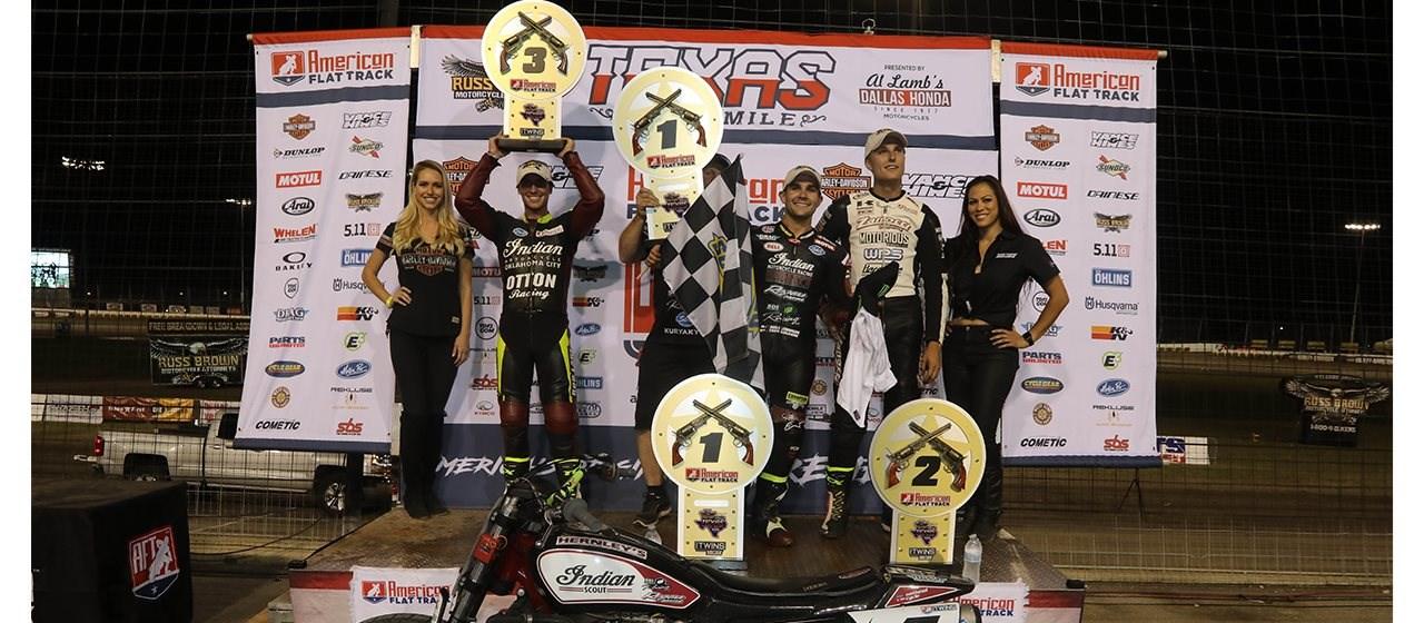 Indian Flat Track Fahrer Mees gewinnt in Texas