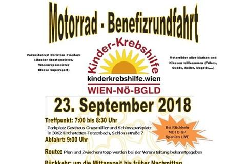 Motorrad-Benefizrundfahrt für Kinder-Krebshilfe am 23.September