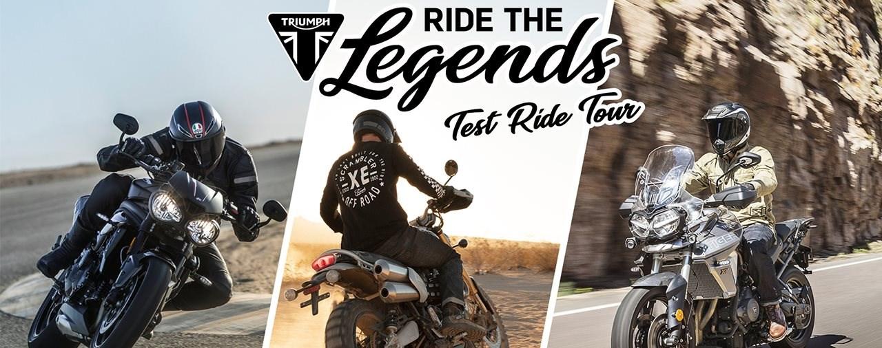 """Triumph  """"Ride the Legends""""-Tour: Bikes warten auf Testfahrer"""
