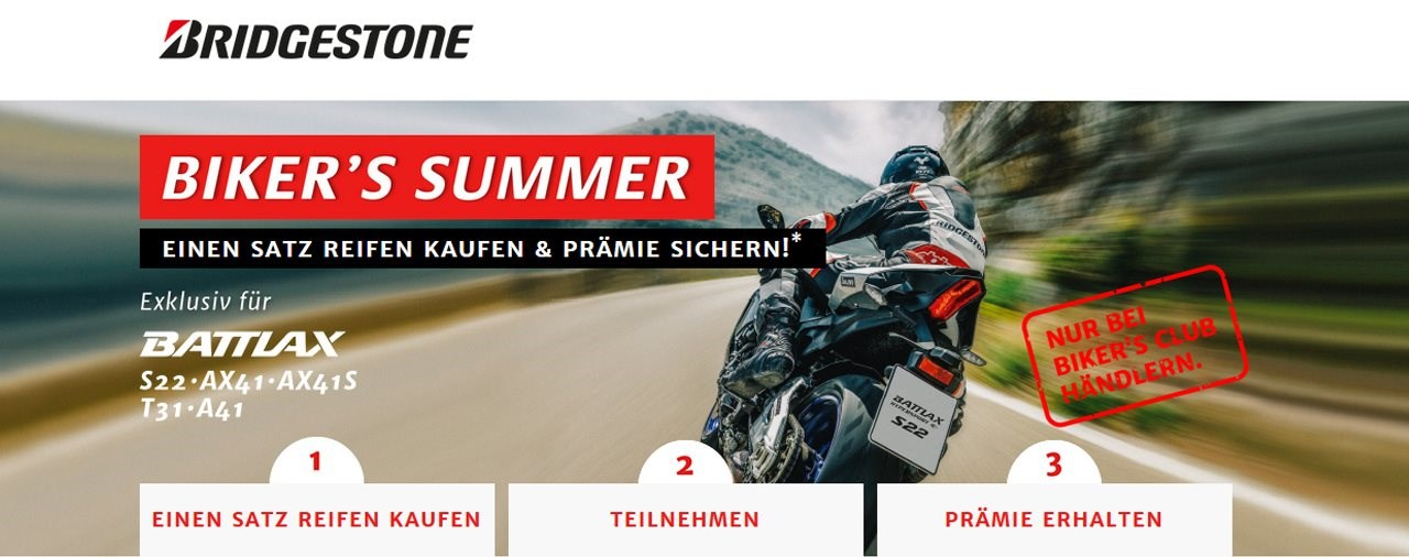 Bridgestone Biker's Summer Aktion und Simply Ride Versicherung