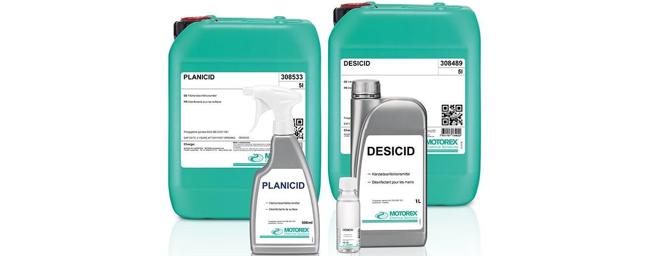 Motorex liefert Hand-und Flächendesinfektionsmittel