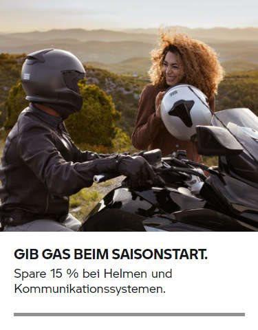 Spare 15 % bei Helmen und Kommunikationssystemen.