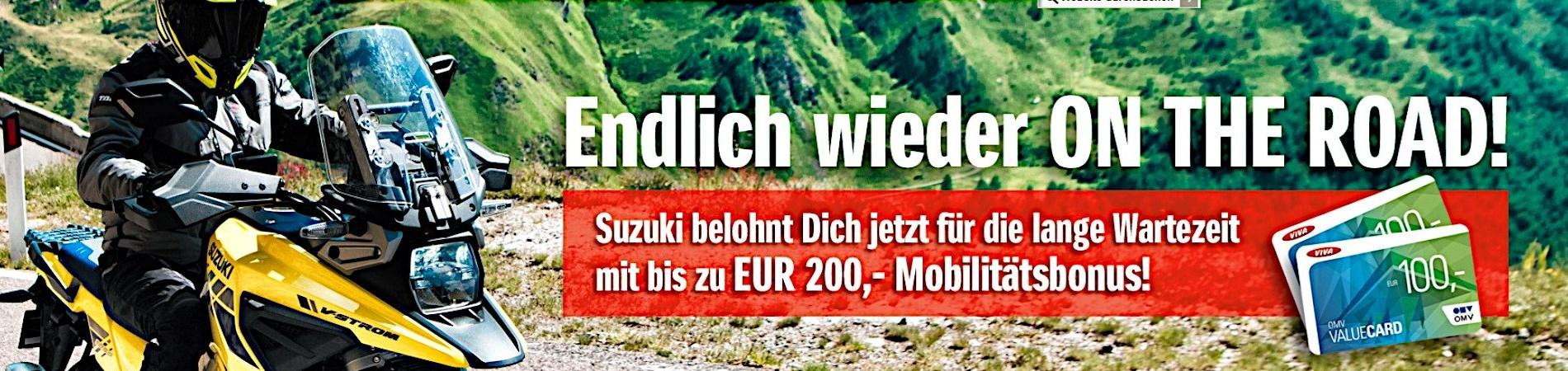 Suzuki belohnt Dich jetzt für die lange Wartezeit mit bis zu EUR 200,- Mobilitätsbonus!