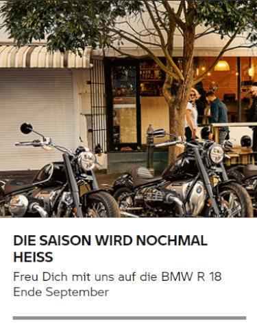 Freu Dich mit uns auf die BMW R 18 Ende September
