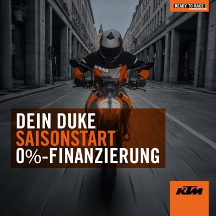 Spring Promotion  DEIN DUKE SAISONSTARTStarte auf einer neuen KTM DUKE in die Saison!Bis zum 31.05.2019 wählst du einfach zwischen einer 0%-Finanzierung oder einem KTM PowerWear / PowerParts Gutschein.---KTM POWERWEAR & POWERPARTS GUTSCHEIN...