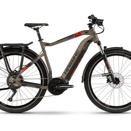 """Haibike SDURO Trekking 4.0, HE 56, Gr L; sand/schwarz/rot SDURO Trekking 4.0i500Wh, 10-G, 28"""";Größe: L / 56cm Rahmen: Aluminium 6061, hydroformed, Schnellspanner 5x135mm                    Scheibenbremse Post Mount Motor: Yamaha PW-ST System, 250W, 70Nm, 25km/h Display: Yamaha S..."""
