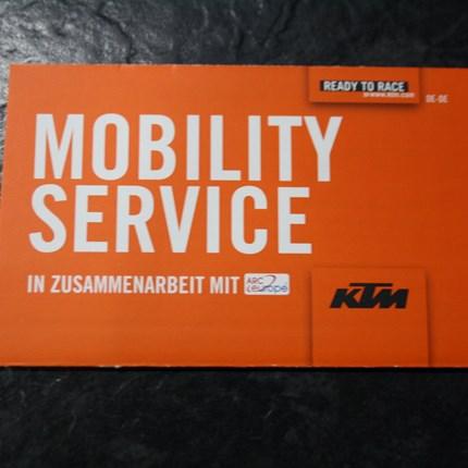 Lifetime Mobility KTM Der Mobility-Service bietet z.B. in folgenden Situationen Abhilfe: Pannen (springt nicht an, verliert Öl etc.), Vandalismus, Diebstahl, versuchter Diebstahl und Brandschäden.Zum Bezwingen unvorhergesehener Hindernisse steh...