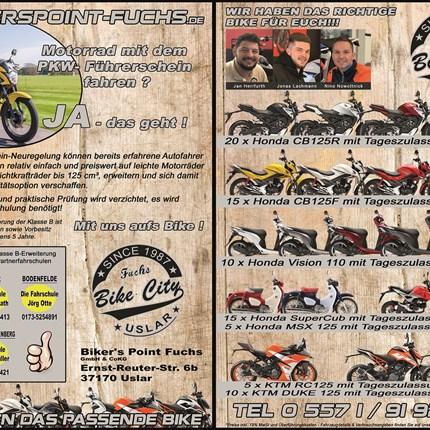 Motorrad mit dem PKW-Führerschein fahren?  Ja, das geht!!! Motorrad mit dem PKW-Führerschein fahren?Ja, das geht!!!Mit uns findet Ihr das richtige Bike für euren Start auf zwei Rädern!Und wer jetzt schnell ist kann sich noch eine Tageszulassung zum Schnäppchenpreis sichern!Bei Fra...