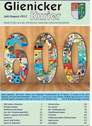 """600 Jahre Glienicke Zum Bürgerfest """"600 Jahre Glienicke/Nordbahn"""" am 11. August laden die Gemeinde und der Veranstaltungsservice S&T alle Bürger ab 11 Uhr auf das Fest..."""