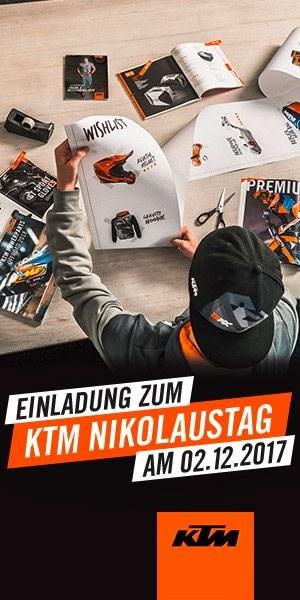KTM Nikolaus-Tag Saisonentspurt bei FINKL !Wir zeigen euch die Neuheiten 2018 bei Glühwein und Plätzchen.Bei einem Einkauf ab 200 € Bekleidung/Zubehör gibt es am 02...