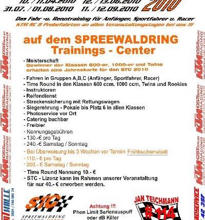 Time rounds Cup 2010 Time rounds Cup 201010./11.04.2010 12./13.06.2010 31.07./01.08.2010 11./12.09.2010Das Fahr und Renntraining für Anfänger,Sportfahrer und R...