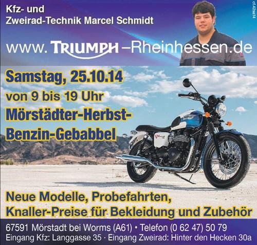 """""""Mörstädter-Herbst-Benzin-Gebabbel"""" am 25.10.14 bei Triumph Rheinhessen"""