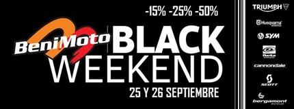 BENIMOTO BLACK WEEKEND / 25-26 Septiembre Los próximos 25-26 septiembre organizaremos el BENIMOTO BLACK WEEKEND.Estos dos días aplicaremos un descuentobase deun 15% en todoslos accesorio...