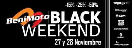 BENIMOTO BLACK WEEKEND / 27-28 Noviembre Los próximos 27-28 Noviembre organizaremos el BENIMOTO BLACK WEEKEND.Estos dos días aplicaremos un descuentobase deun 15% en todoslos accesorios...