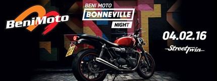 BONNEVILLE NIGHT BENIMOTO No te pierdas la presentación oficial de la nueva Street Twin. El próximo jueves 4 de Febrero en Beni Moto (Concesionario Oficial Triumph) celebram...