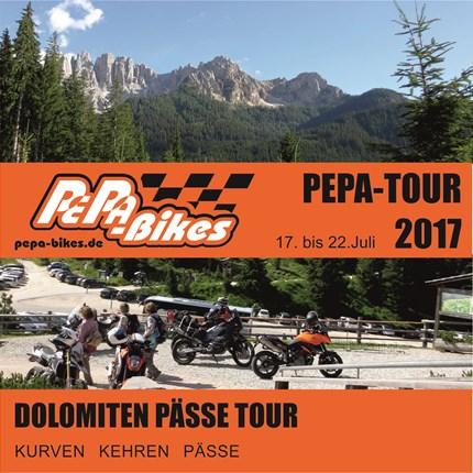 PePa-Bikes DOLOMITEN PÄSSE TOUR PEPA-BIKE'S-DOLOMITEN-PÄSSE-TOURDas Motto: Kurven, Kehren und Pässe ... .... die Tour Startet in Gruppen geführt von uns aus Richtung Südtirol. Wo...