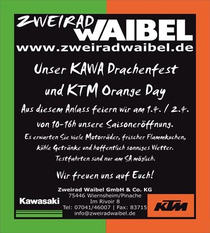 Saisoneröffnung 2017 Wir feiern unser KAWA Drachenfest und KTM Orange Day!Aus diesem Anlass feiern wir am 1.4. / 2.4. von 10-16h unsere Saisoneröffnung.Es erwarten Sie ...