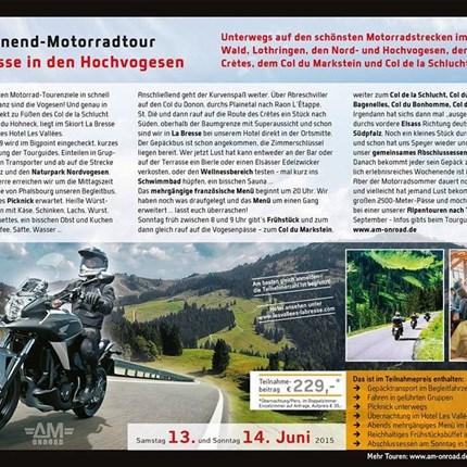 BIGPOINT GOES ONROAD Wochenendtour nach La Bresse in den Vogesen am Samstag 13. und Sonntag 14. JuniIm Preis enthalten:- Gepäcktransport im Begleitbus- Fahren in geführ...
