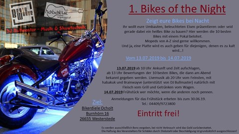 Motorrad Termin 1. Bikes of the Night
