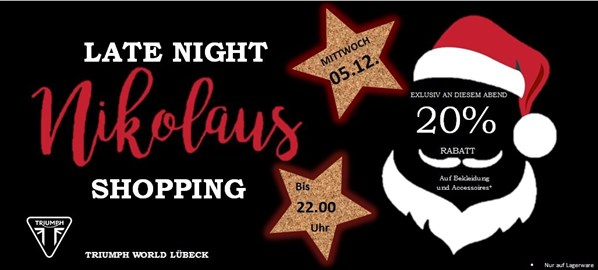 Motorrad Termin Late Night Nikolaus Shopping
