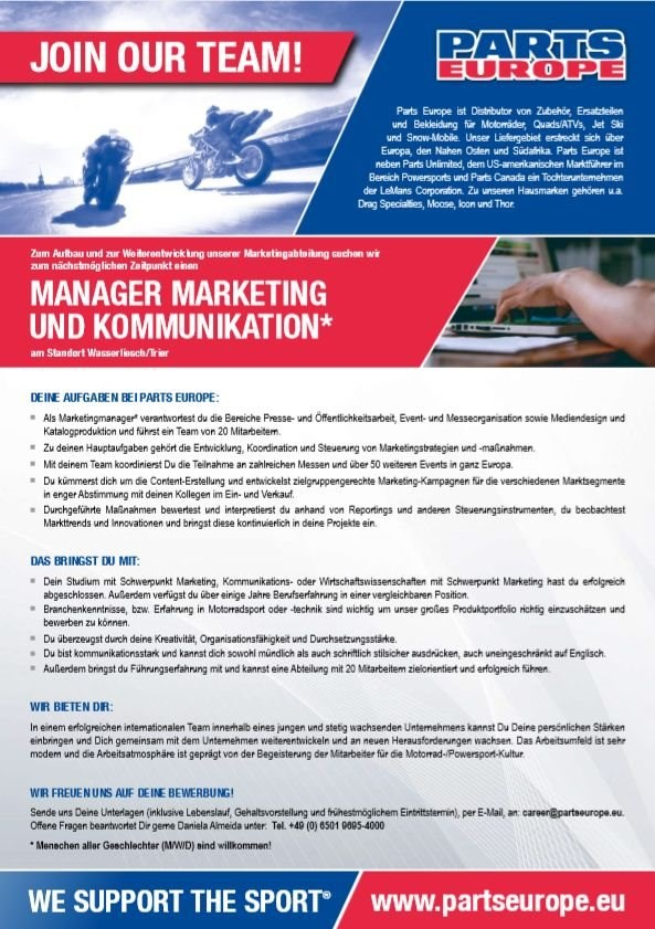 Manager Marketing und Kommunikation