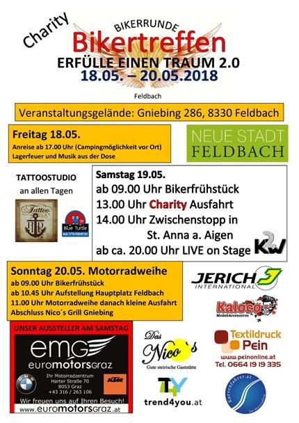 Charity Bikertreffen  Charity Bikertreffen - 18.05. bis 20.05.2018  Wir freuen uns sehr, dass wir das Charity Bikertre... Weiter >>