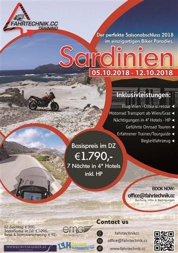 Oktober-Saisonabschluss in Sardinien  Sichere Dir Deinen Platz beim perfekten Saisonabschluss im Oktober! Unser Partner FAHRTECHNIK.CC... Weiter >>