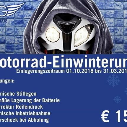 Motorrad Einwinterung  Winter-Einlagerungsservice zum Fixpreis!  Wer sein Motorrad hegt und pflegt, bereitet sich jetzt... Weiter >>