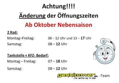 Neue Winteröffungungszeiten ...