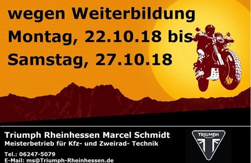 Vom 22.10.18 bis 27.10.18 geschlossen!