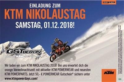 ...es weihnachtet sehr... Am 01.12.2018 findet unser diesjähriger KTM Nikolaustag statt. Wir öffnen unsere Türen von 09.00 - 16.00 Uhr für euch und für Spei... Weiter >>