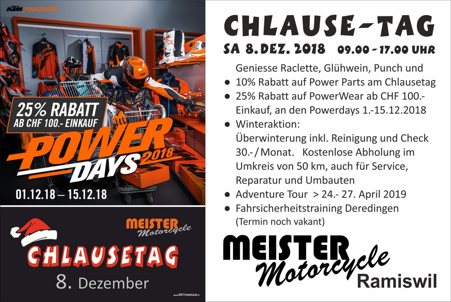 Meister Motorcycle AG-News: Powerdays und Chlausentag 2018