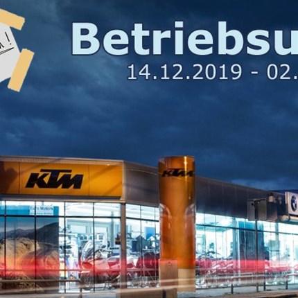 Betriebsurlaub  Liebe Kunden, liebe Partner!  Wir haben noch bis inklusive 13.12.2019 für Sie geöffnet, Bestell... Weiter >>