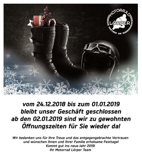 Weihnachts Öffnungszeiten 2018