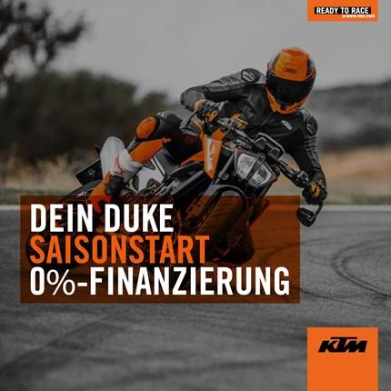 Spring Promotion  DEIN DUKE SAISONSTART Starte auf einer neuen KTM DUKE in die Saison! Bis zum 31.05.2019 wählst ... Weiter >>