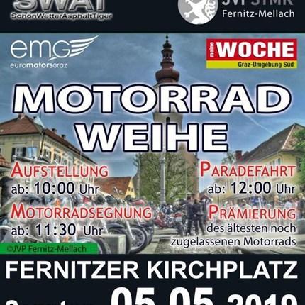 Motorradweihe Fernitz - 05.05.2019  Motorradweihe - 05.05.2019 Seit dabei: auch heuer findet die beliebe Motorradweihe in Fernitz statt, die sich in den letzten Ja... Weiter >>