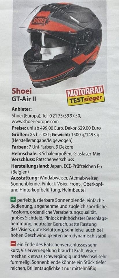 Shoei GT-Air II MOTORRAD Testsieger