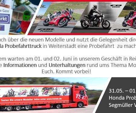 Motorradtechnik Lang GmbH-News: Probefahrttruck & Ausstellung Segmüller, Reinheimer Markt