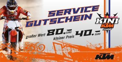 MX – KTM KINI: sensationelles Angebot zum Abschluss der Saison!  Für alle die ihrem Bike nach einer langen Saison etwas gutes Tun wollen, gibt es jetzt einen Service- und Reparaturgutschein zum...