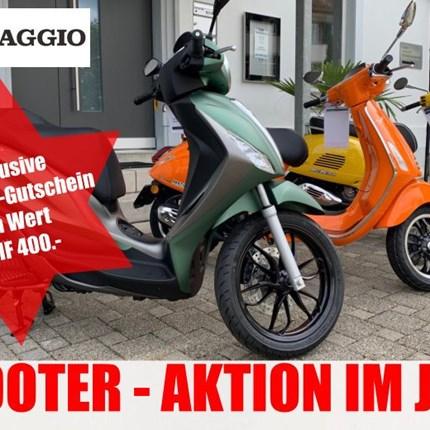Piaggio Aktion - Nur bei uns!   Ein Scooter soll alltagstauglich und mit einem hohem Funfaktor bestückt sein. Das trifft auf die ... Weiter >>