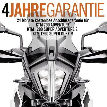 4 Jahre Garantie bei KTM  Sichere Dir 4 Jahre Garantie beim Kauf einer KTM 1290 Super Duke R, 1290 Super Adventure oder 790... Weiter >>