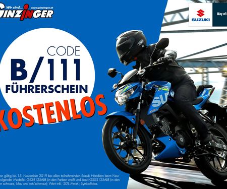 Ginzinger GmbH Zentrale Ried-News: Suzuki 125er Führerscheinaktion!