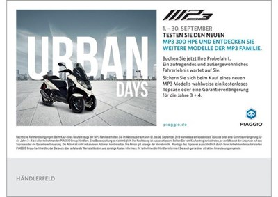 Piaggio MP3 Urban Days 01.09 - 30.09.2019
