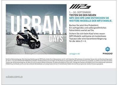 NEWS Piaggio MP3 Urban Days 01.09 - 30.09.2019