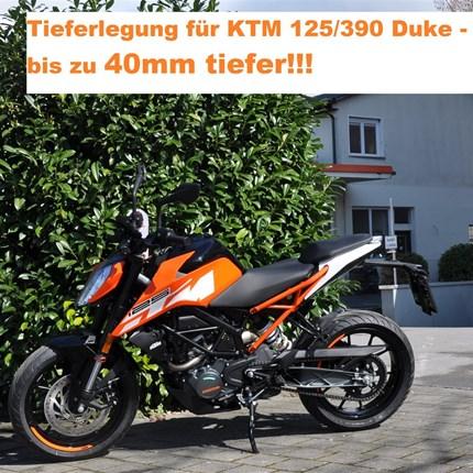 Tieferlegungskit`s KTM Modelle....  bei Motobike Bregenz!!!!  KTM 125 + 390 Duke werden bis zu 40mm niedriger!!! KTM 690 SMC-R wir... Weiter >>