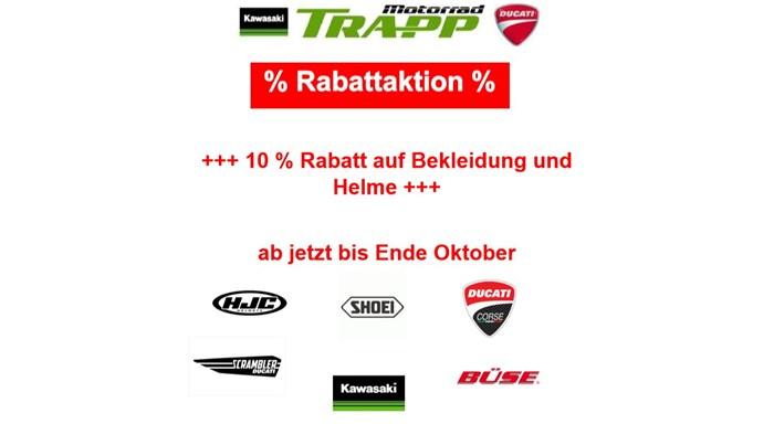 10 % Rabattaktion auf Bekleidung und Helme